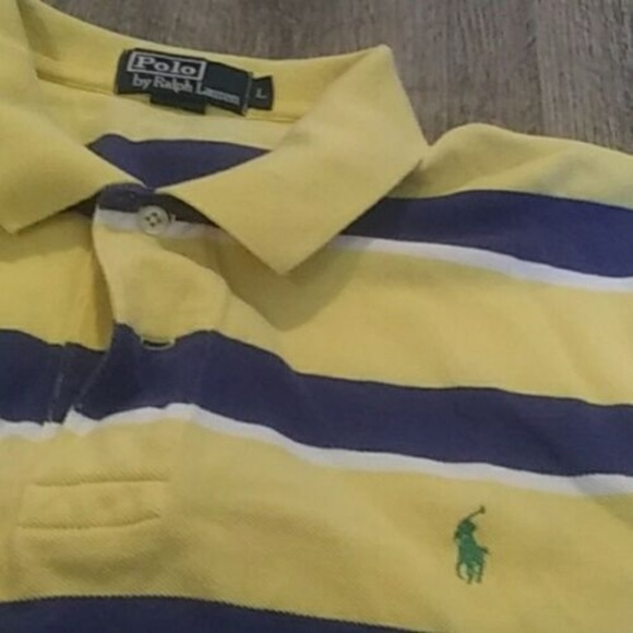 Polo by Ralph Lauren Other - Polo Ralph Lauren Yellow Blue Striped Rugby Polo L